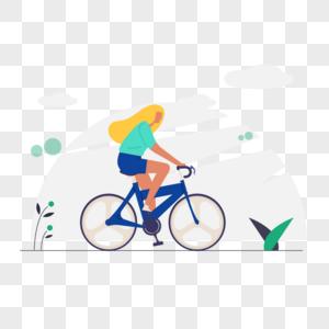 女人骑自行车图标免抠矢量插画素材图片