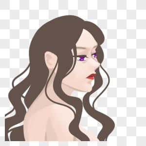 卷发性感美女侧面头像图片