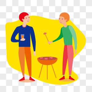两个人吃烧烤高热量食物减肥健康图片
