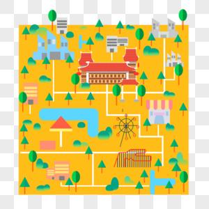 城市生活风景景扁平插画图片