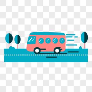 汽车在公路上飞驰场景扁平插画图片