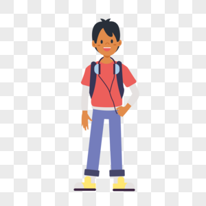 放学的男生图片