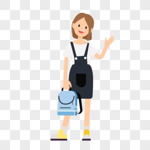 手提书包的女生图片