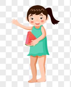 扎马尾的小女孩抱着西瓜图片