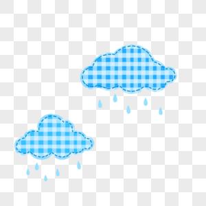 卡通可爱格子云朵PNG图片