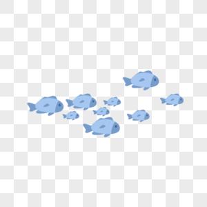 世界海洋日蓝色清新鱼群卡通手绘图片