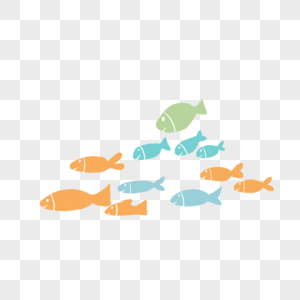 世界海洋日彩色鱼群扁平风格手绘图片