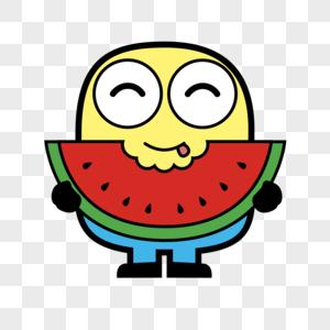 吃西瓜的小人图片