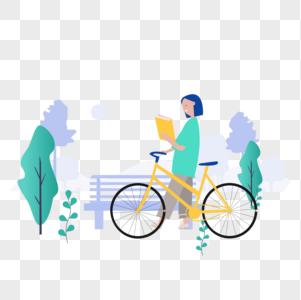 女孩拿着书推着车图标免抠矢量插画素材图片