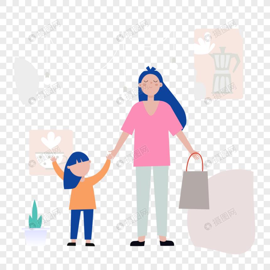 母女牵手出门图标免抠矢量插画素材图片