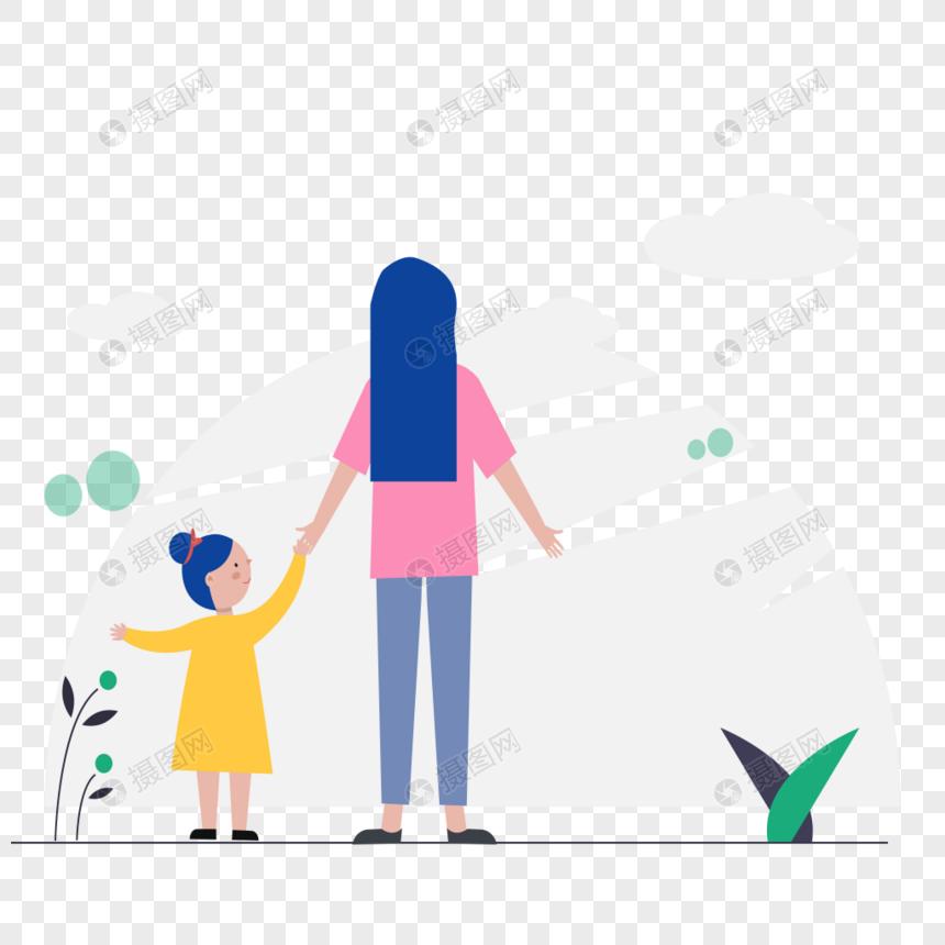 母女看风景图标免抠矢量插画素材图片