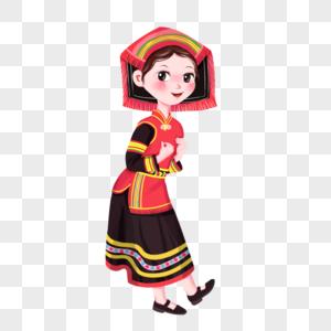 少数民族节日瑶族达努节手绘民族风女孩图片