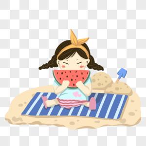 卡通手绘女孩沙滩开心吃西瓜图片