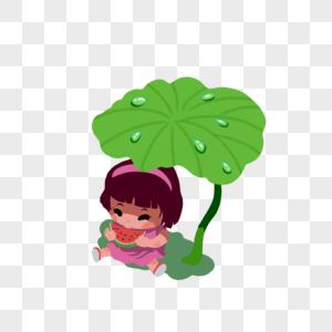 荷叶下吃西瓜的小孩图片