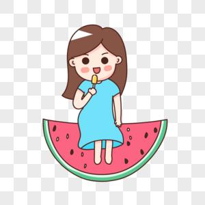 坐在西瓜上消暑的女孩图片