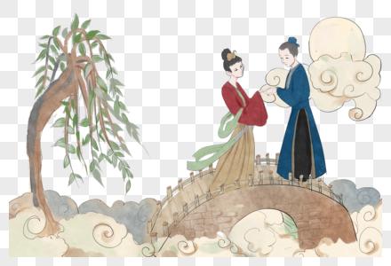 牛郎织女站在鹊桥上图片