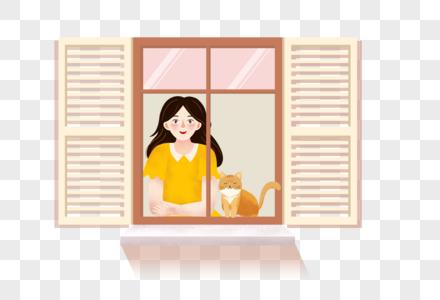 窗前的女孩和猫图片