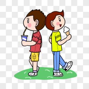 夏天小朋友喝冷饮吃冰淇淋图片