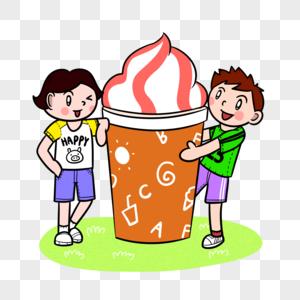 夏季小朋友们吃冰淇淋图片