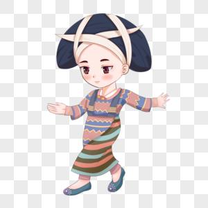 跳舞的长角苗族女孩图片