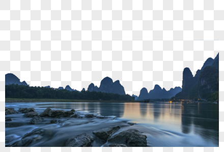 桂林漓江兴坪夜色图片