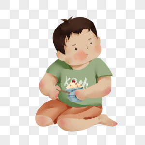 坐着吃雪糕的男孩图片