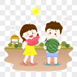 夏季吃西瓜手绘插画图片