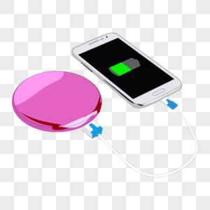 卡通手绘白色智能手机粉色圆形充电宝图片