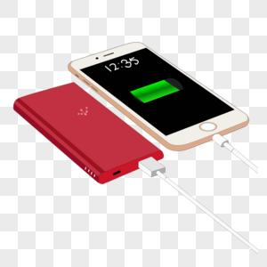 卡通手绘白色手机红色充电宝图片