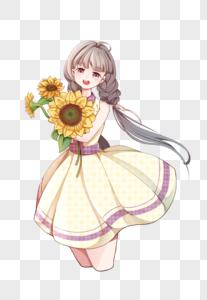 夏日抱着向日葵的女孩图片