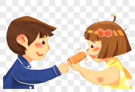 吃雪糕的孩子图片