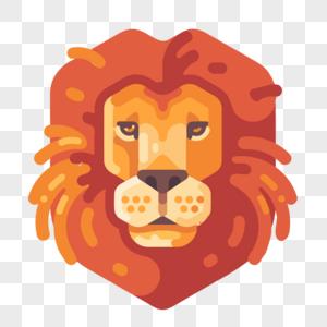 狮子头像卡通扁平矢量图图片