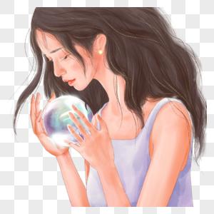 拿着水晶球的女孩图片