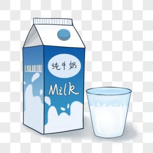 手绘盒装牛奶图片