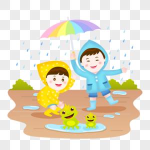 夏季雨天玩耍儿童插画图片