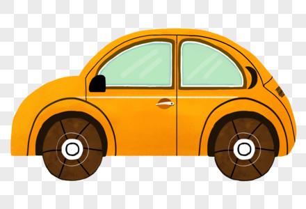 手绘卡通黄色小汽车图片