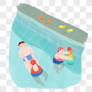 夏天游泳小场景图片