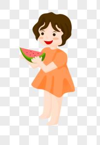 捧西瓜的小姑娘图片