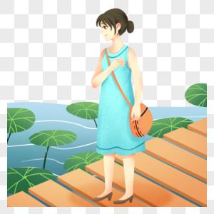 池塘边的女孩图片