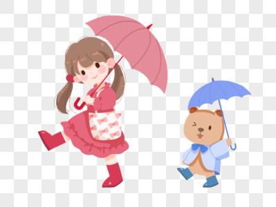 雨季撑伞的女孩和小熊图片