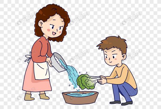 节约用水淘米水洗菜图片