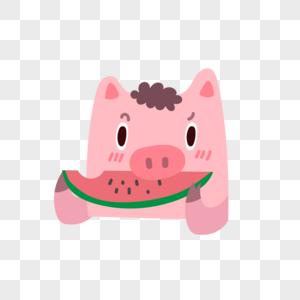小猪吃瓜看戏图片