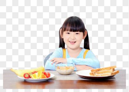 小女孩大口吃饭图片