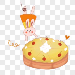 小兔子吃蛋糕图片