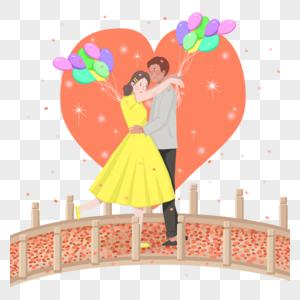 可商用扁平粉色浪漫七夕告白求婚情侣图片
