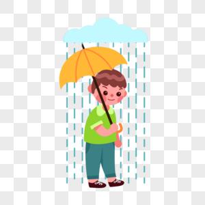 雨伞男孩图片