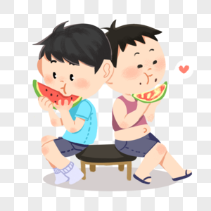 两个吃西瓜的小朋友图片