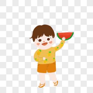 吃西瓜的小孩夏天图片