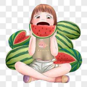 坐着吃西瓜的女孩图片