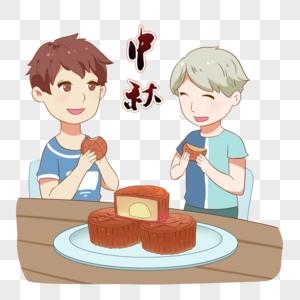 吃月饼的男孩图片
